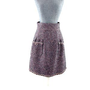 Chanel Cotton Tweed A Line Knee Length Skirt